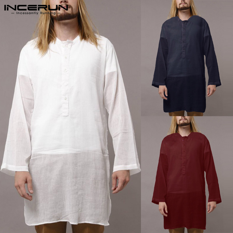 2019 Plain Kurta Suits Indian Man Dress Shirts Pullovers Men Long Sleeve Pakistani Islamic Clothes Kurtas Camisa Chemsie Hombre