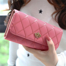 Women Matte Leather Small Wallet PU Long Purse Solid Patchwork Credit Cards Money Wallets