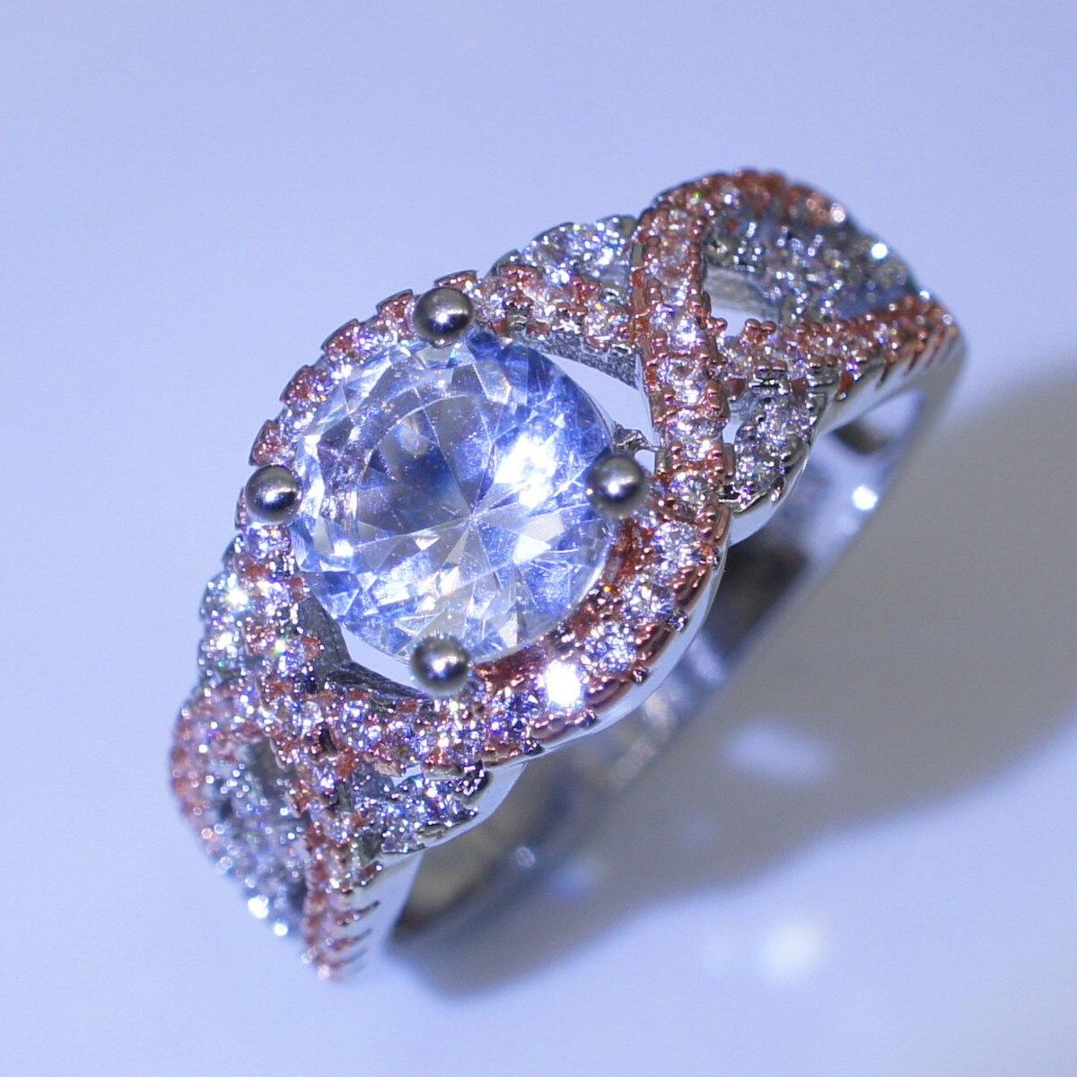 14 Rose-gold Split Ringe Simulierten Diamant Verlobung Ringe für Frauen schmuck Bizuteria Diamante Edelstein Anillos De mystic Ring