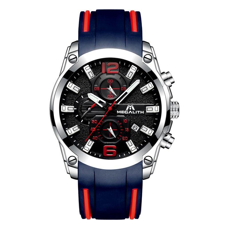 Image 2 - MEGALITH мужские часы спортивные водонепроницаемые аналоговые кварцевые часы с хронографом светящиеся стрелки силиконовый ремешок часы Relogio Masculino-in Спортивные часы from Ручные часы on AliExpress - 11.11_Double 11_Singles' Day