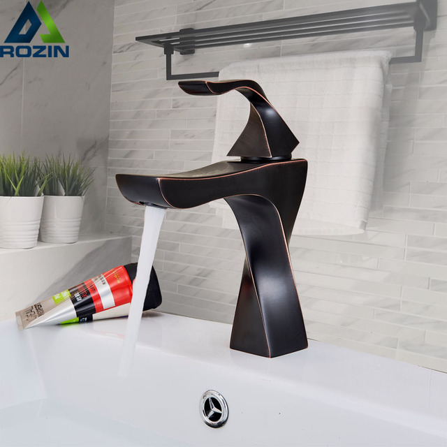 Black Basin Faucets Taps Single Handle Mixer Tap Bathroom Faucets Hot and Cold Cock Deck Mounted Wash Basin Water Crane