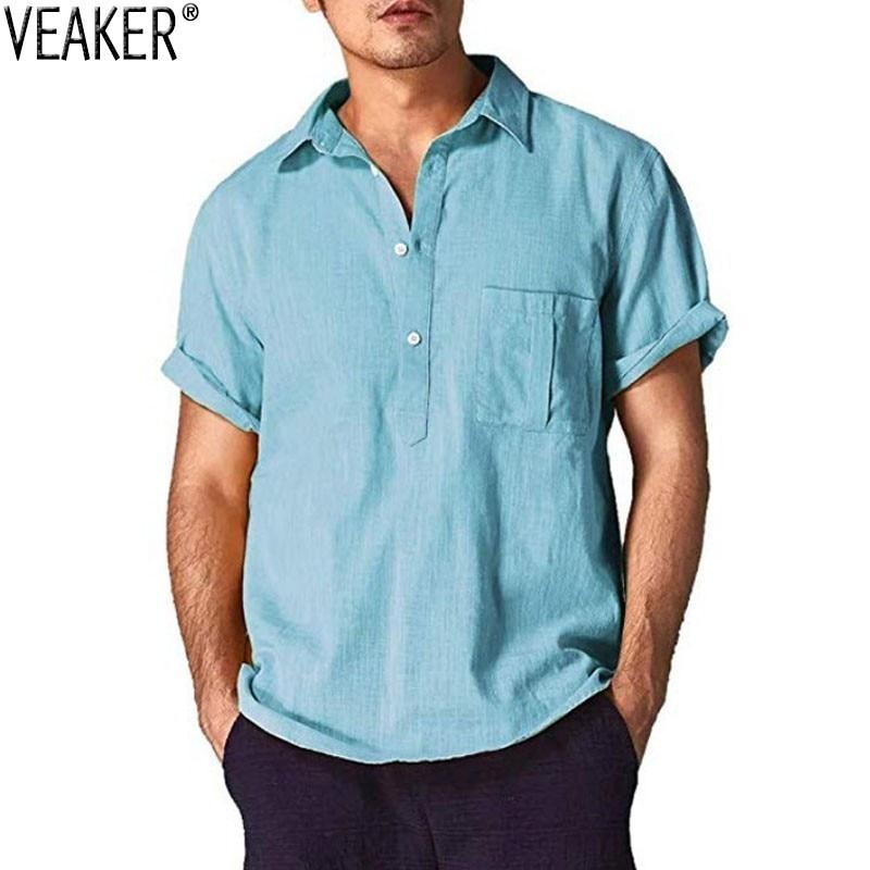 2019 New Men's Casual Loose Shirt Male White Black Short Sleeve Shirts Men Summer Solid Color Cotton linen shirt Tops M-3XL