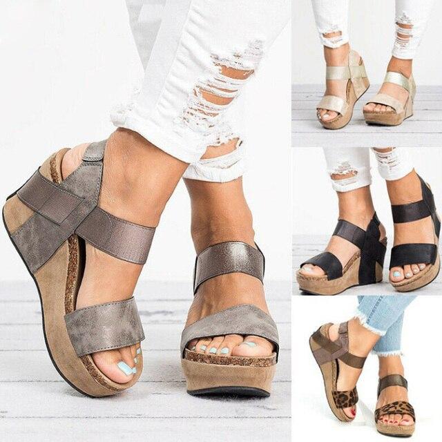 أسافين أحذية للنساء الصنادل حجم كبير أحذية عالية الكعب الصيف 2019 الوجه بالتخبط chausس فام صنادل أرضية 2019