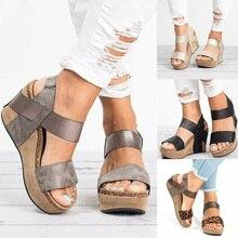 Sandálias femininas, salto alto tamanho grande 2019, sapatos de verão, sola plataforma, 2019