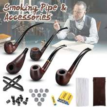 Ebony Durable Wooden Long Handle Tobacco Smoking Pipe + Tobacco Cigare