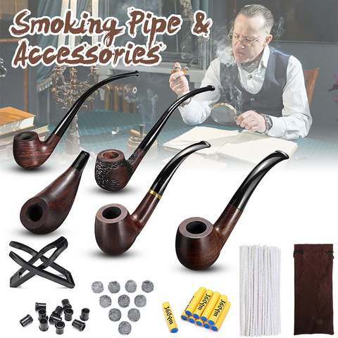 Ebony Durable Wooden Long Handle Tobacco Smoking Pipe + Tobacco Cigarettes Cigar Pipes Accessories For Boyfriend Father Gift Pakistan
