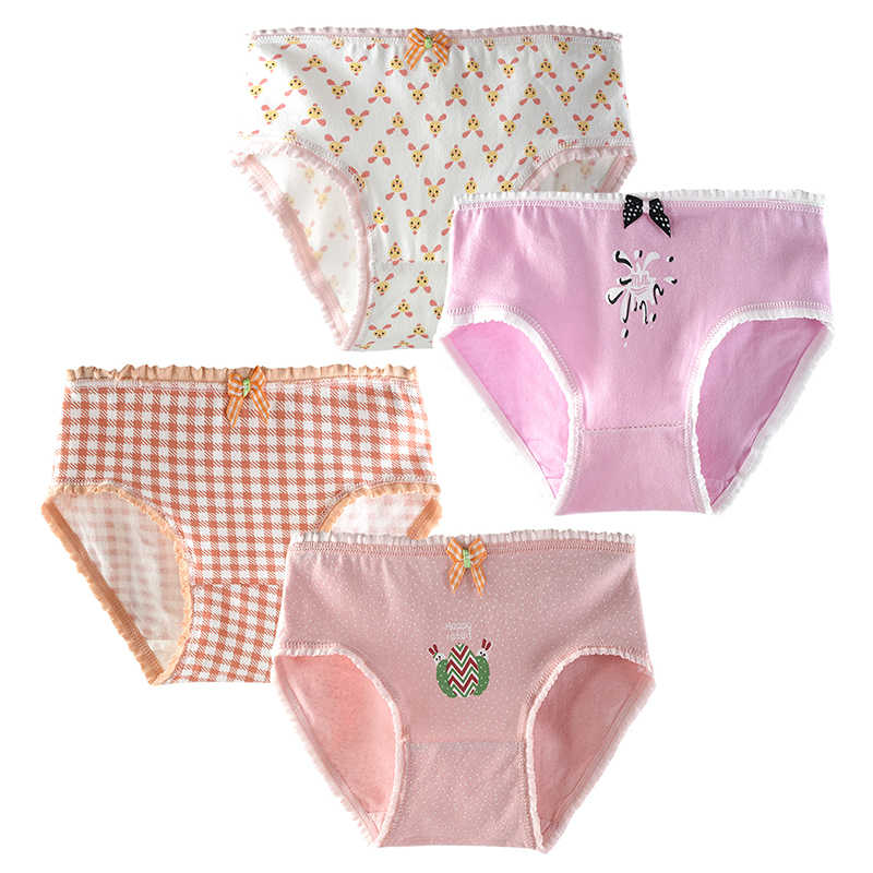 4 جزء/الوحدة ملابس داخلية للأطفال كاندي الألوان لينة القطن فتاة شابة ملخصات للمراهقين سراويل ملابس داخليّة حريمي أطفال سروال تحتي