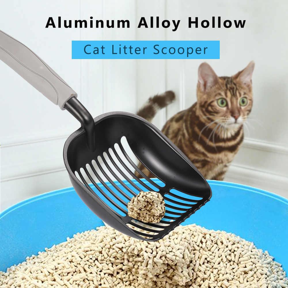 Liga de alumínio Scooper Maca Do Gato Da Maca Pá Peneira com uma Longa Alça Pet Poop Scooper Pá Ferramentas Fontes de Limpeza do animal de Estimação