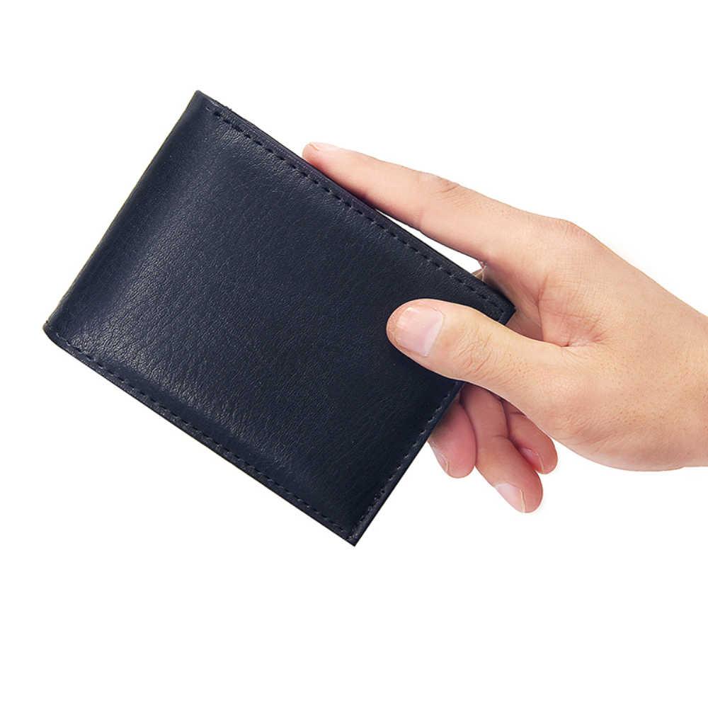 Luxe heren Portemonnee Lederen Solid Slim Portefeuilles Mannen Pu Leather Bifold Korte Credit Card Houders Portemonnees Zakelijke Portemonnee mannelijke