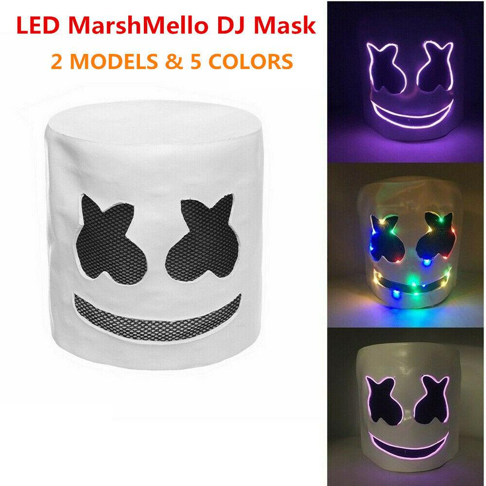 MarshMello DJ Mask LED Flash Mello Full Head Helmet for Cosplay Music Party Bars