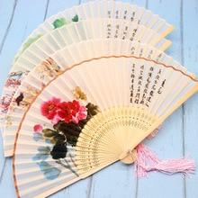 Abanico de bambú chino de seda auténtica para mujer, abanico de verano antiguo plegable, abanico de baile, recuerdos y regalos de boda Vintage, abanicos de mano de bambú, boda