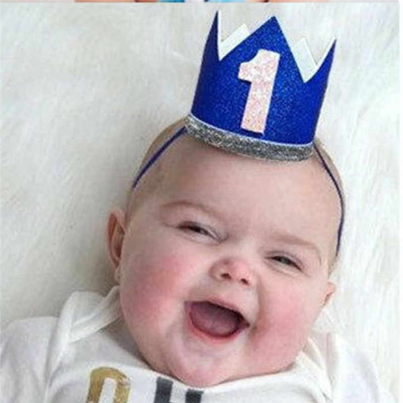 Lucu Bayi Bayi Anak Gadis Headband Ulang Tahun Pesta Pangeran Putri Mahkota Hiasan Kepala Rambut Band Aksesoris Kreatif Dekorasi Ulang Tahun