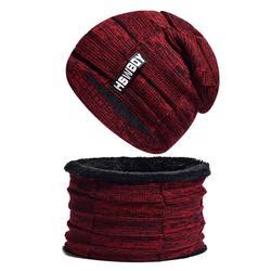 2018 Для мужчин бархатные теплые зимние Шапки шарф шерстяной вязаный Кепки шеи теплый шапочки Мужской сплошной Хип-хоп кольцо для шляпы