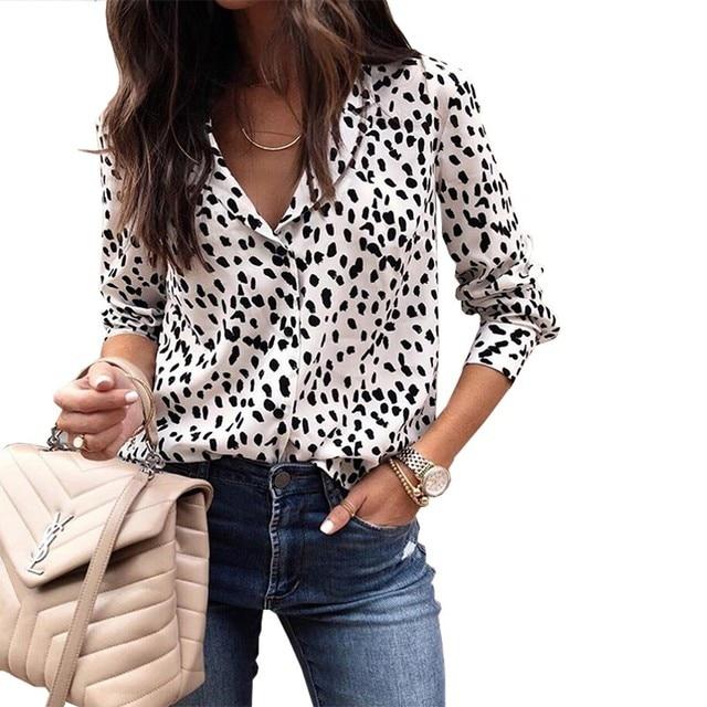 2018 Fashion Women Leopard Print Blouse Shirt Autumn Winter Long Sleeve Blouses Womens Casual Elegant Tops And Shirts