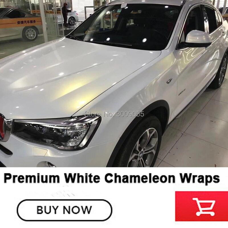 Plus haute qualité En Céramique Blanc Caméléon enveloppe de vinyle autocollants pour voiture Bubble Free Car Vinyle Film pour la voiture corps film Taille: 1.52X20 M - 2