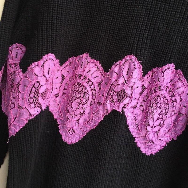 Tops As Cou Femme Coréenne Casual Manches Patchwork Tricoter Longues Pull L472 O Picture À Mode 2019 Dentelle Printemps Femmes Chandail Zxtwt7PU