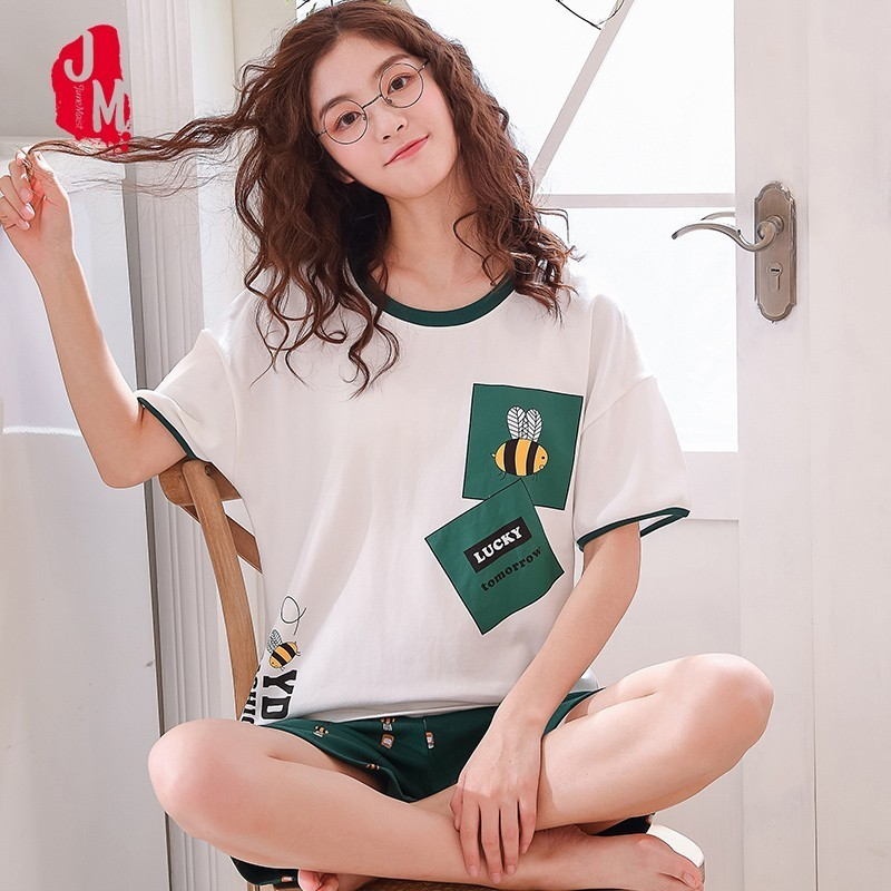 2019 Women   Pajamas     Sets   Summer New Animal Women Pyjamas Cotton Casual Sleepwear Female Short Pyjamas   Sets   NightSuit Sleep Lounge