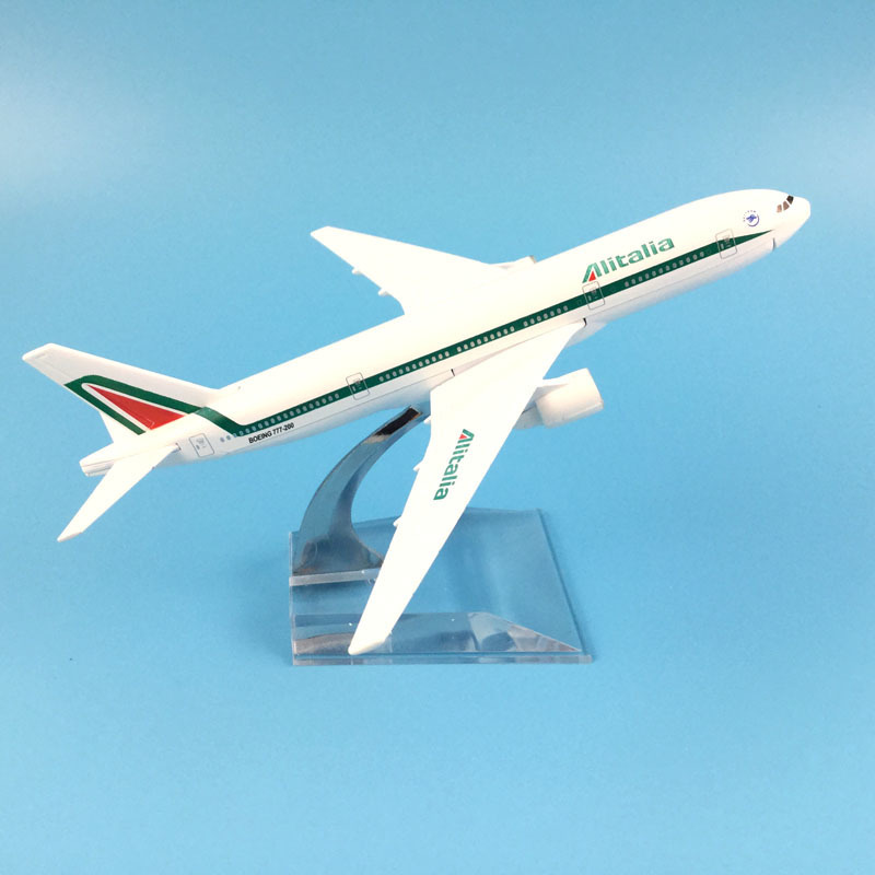 16cm Plane Airplane Model Alitalia Boeing 777 Aircraft Model Diecast Metal Airplanes Model 1:400 Plane Toy Gift