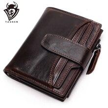 Portefeuille en cuir véritable pour hommes, qualité supérieure, cire dhuile, portefeuille en cuir de vache, porte monnaie pour hommes, fermeture éclair, 100%