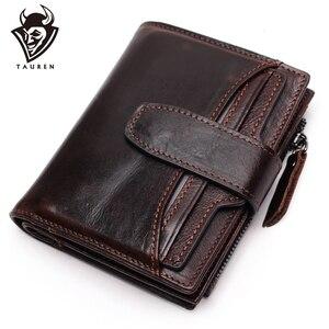 Image 1 - Portefeuille en cuir véritable pour hommes, qualité supérieure, cire dhuile, portefeuille en cuir de vache, porte monnaie pour hommes, fermeture éclair, 100%