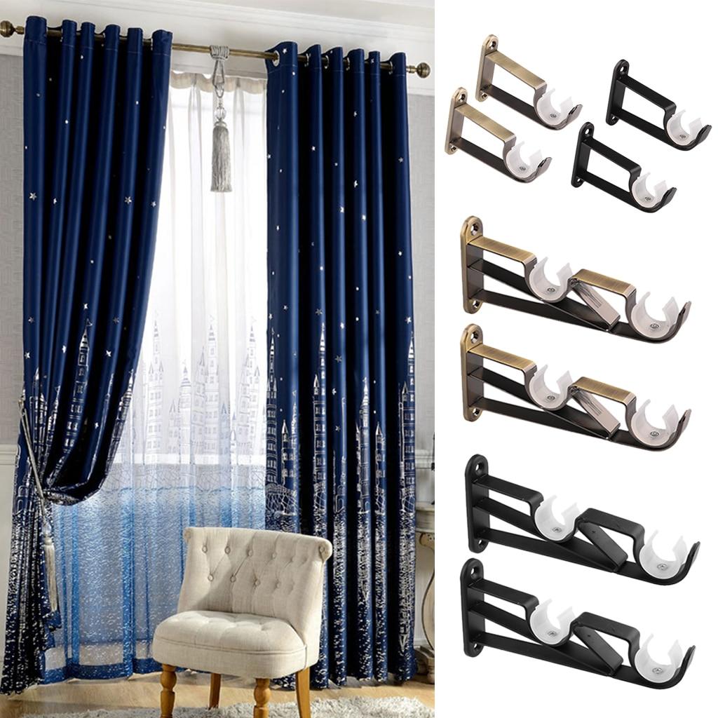 2pcs Iron Curtain Rod Pole Holder Wall Mounted Bracket For