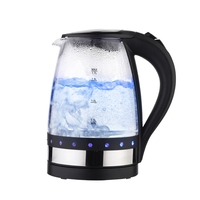 Black/White 1.7L Electric Kettle Cordless 1850W Ultra Fast Boiling Auto Shut off Glass Tea Pot With LED Boil Dry Protection