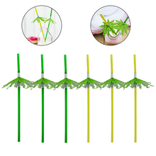 Safety Environmental Protection Disposable Art Paper Umbrella Green Coconut Tree Shape Straw Drink Decoration Bar Party Supplies