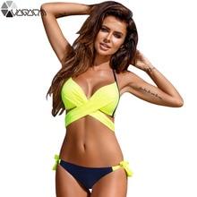 Купить с кэшбэком New Sexy Bikini Women Swimsuit Push Up Swimwear Criss Cross Bandage Halter Bikini Set Beach Bathing Suit Swim Wear