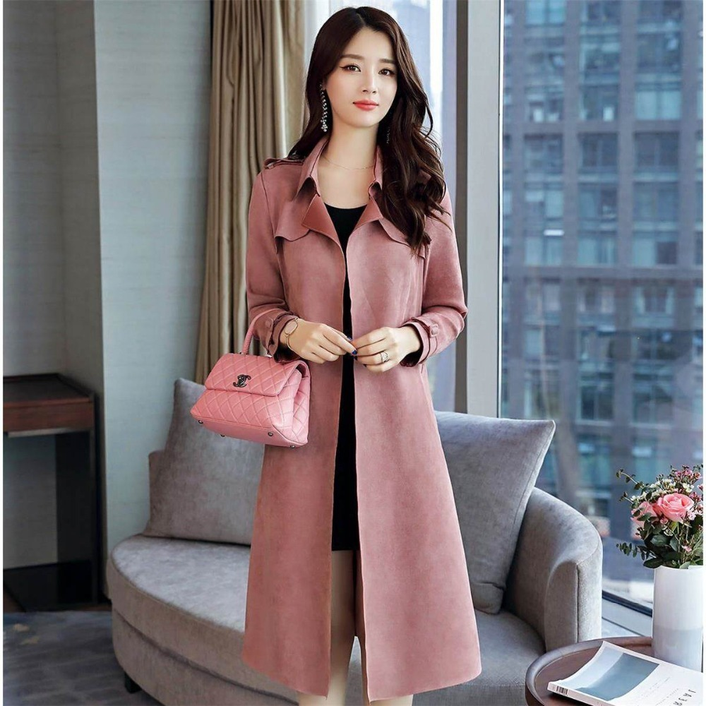 Autumn Suede   Trench   Coat Women Long Elegant Outwear With Belt Overcoat Slim Suede Cardigan   Trench   Veste Femme Korean Clothes New