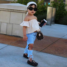 Emmababy Summer Fashion Freestyle Toddler Girls Clothing Sets Kid Off Shoulder Tops Denim Pants Jeans Outfits Set Clothes