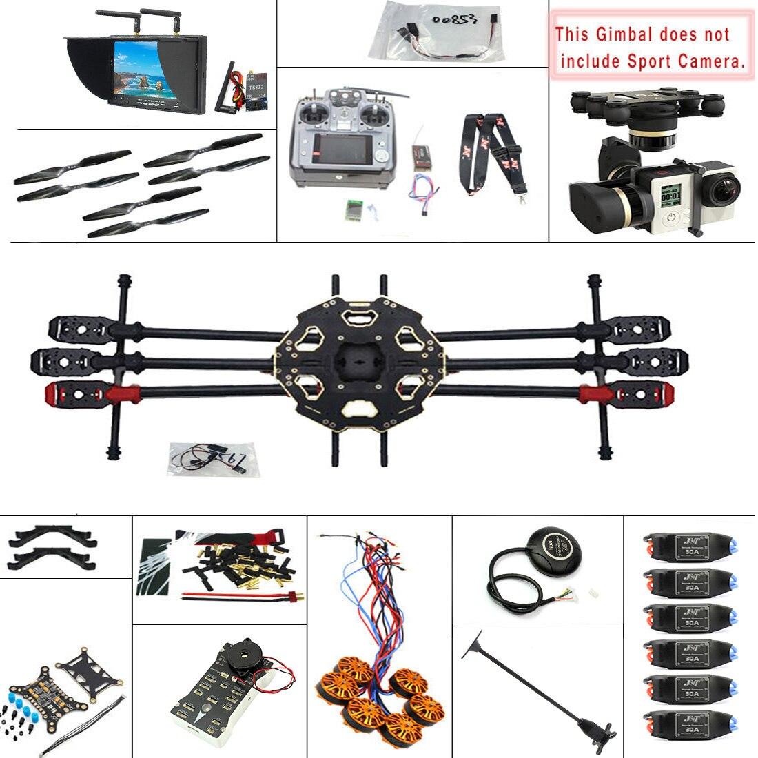 F07807 H JMT DIY 2.4G 10CH PX4 GPS 5.8G FPV 680PRO RC Hexacopter Unassembled Full Kit ARF No Battery RC Drone MINI3D Pro Gimbal