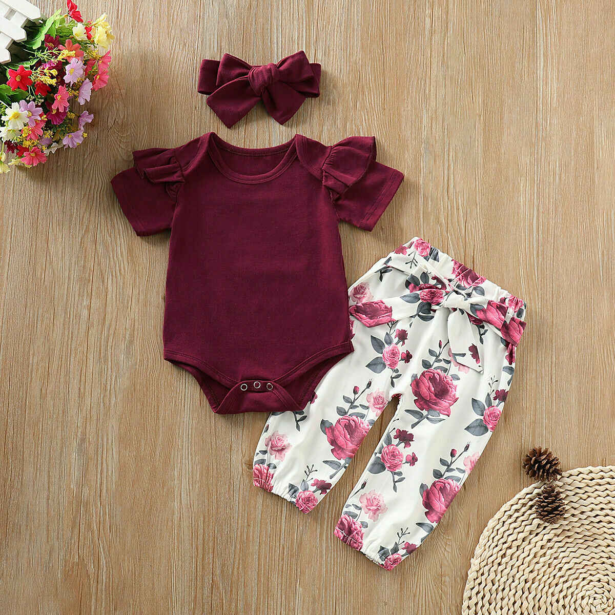 Emmababy 2019 New Brand Newborn Infant Girl Short Sleeve Tops Romper Floral Pants Headband Outfits Clothes 3PCS Set Summer 0-24M