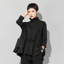 Black Turtleneck Long Blouse Women 2019 Spring Drawstring Waist Pockets Design Long Sleeve Streetwear Ladies Plus Size Tops