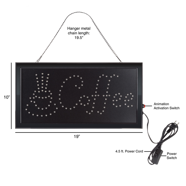 Coffee LED Animated Bright Sign 19 x 10 Window Bar Store Neon Wall Hanging