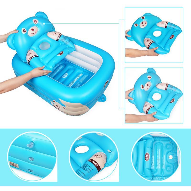 Baignoire bébé nouveau-né bébé baignoire gonflable pliable grande piscine de bain épaissie pataugeoire pour s'asseoir et couché - 4