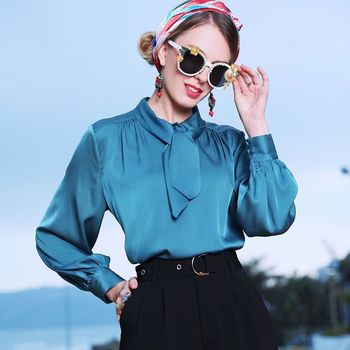 Blue Sky Butterfly Elastic office blouse womens tops and blouses 2019 elegant vintage sexy boho long sleeve plus size palace