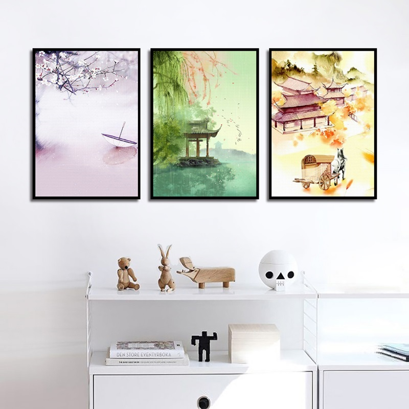 New Chinese Style Ink Artistic Landscape Canvas Painting Living Room Wall Art Pictures Modern Home Decoration Posters And Prints