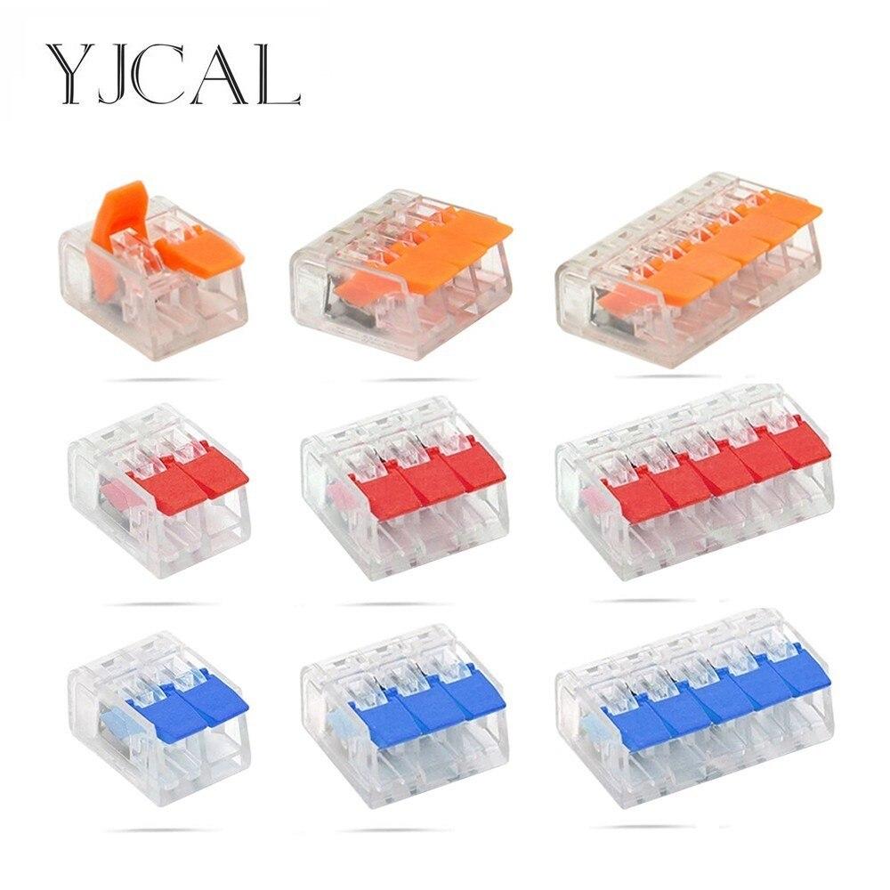 YJCAL 50/100PCS WAGO Type 221 Series Mini Electrical Wiring Cage Spring Universal