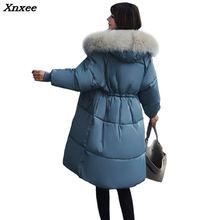 купить 2018 Winter Women Hooded Coat Fur Collar Thicken Warm Long Jacket Female Plus Size Outerwear Parka Ladies Chaqueta Feminino по цене 3689.68 рублей
