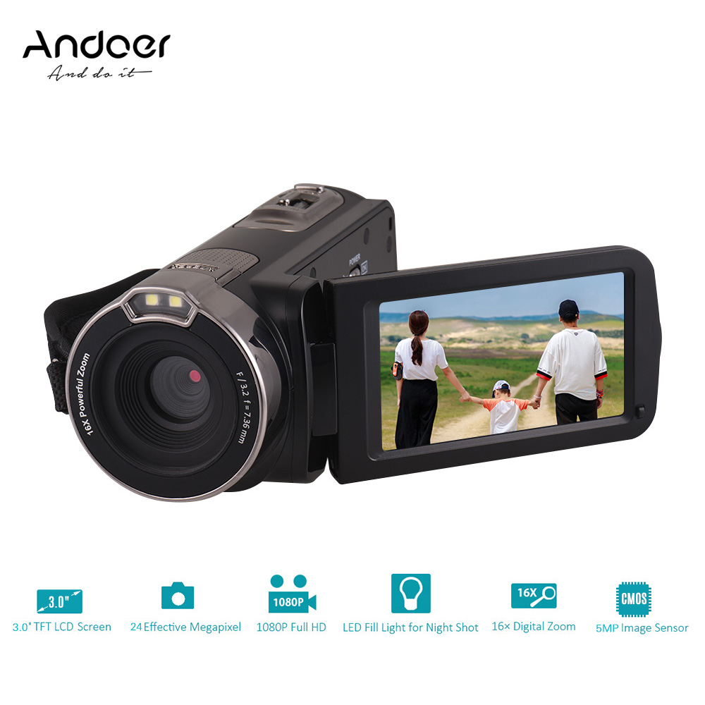 Andoer 1080P Full HD Digital Video Camera Portable Home use DV with 3 0 Inch Rotating
