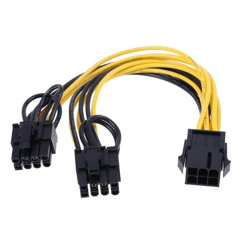 6Pin Port to Dual 8(6+2)Pin Port Splitter Power Cable for Graphic Cards <font><b>UL1007</b></font>-18AWG Pure Copper, <font><b>20AWG</b></font> about 20 cm/7.87 in image