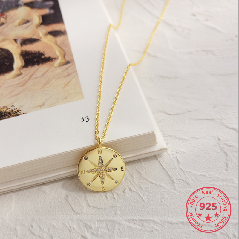 Pure 925 Silver European American New Design Creative Concise Compass Pendant Necklace Fine JewelryPure 925 Silver European American New Design Creative Concise Compass Pendant Necklace Fine Jewelry