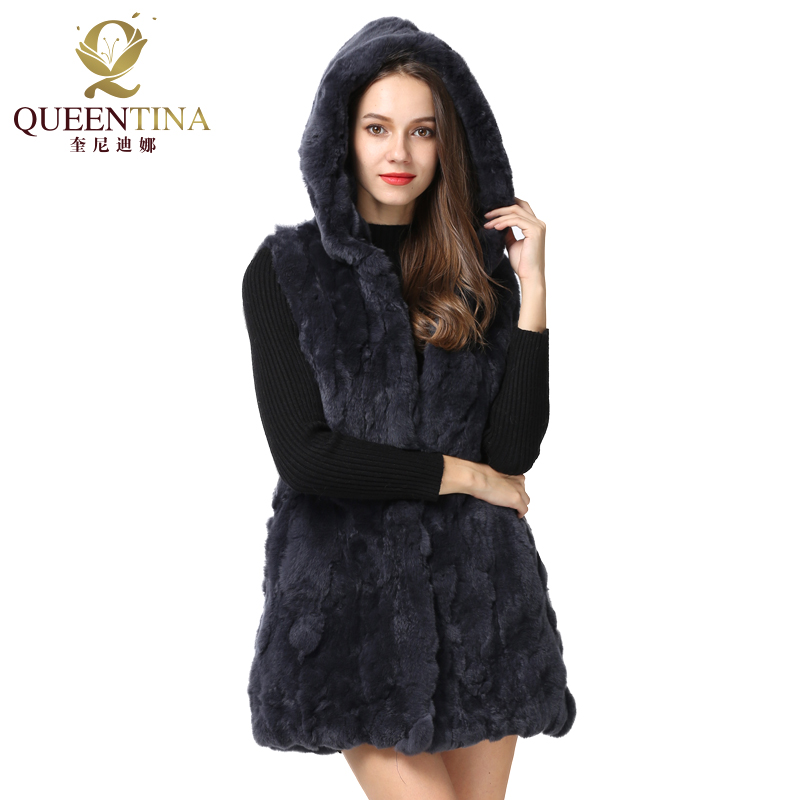 2018 New Genuine Rex Rabbit Fur Vest With Hood Long 100% Rabbit Fur Coat Jacket Women Winter Natural Real Fur Waistcoat Hooded