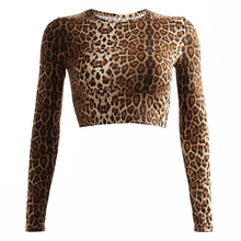 Sexy Sexy Basic Long Sleeve Crop Top Women Leopard Printed Tshirt Autumn Casual Short Ladies T Shirt High Street Tops Tees