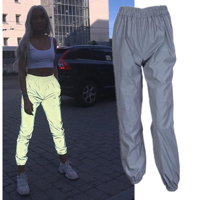 Night running flash reflective Sweatpants Elastic jogger pants for women autumn winter women Bloom pants solid loose trousers 1