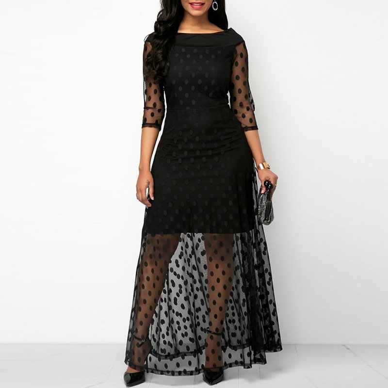 Для женщин Вечеринка Дата Ретро готический черный горошек Макси платье Офисные женские туфли работы видеть сквозь сетку удлиненные Bodycon платья