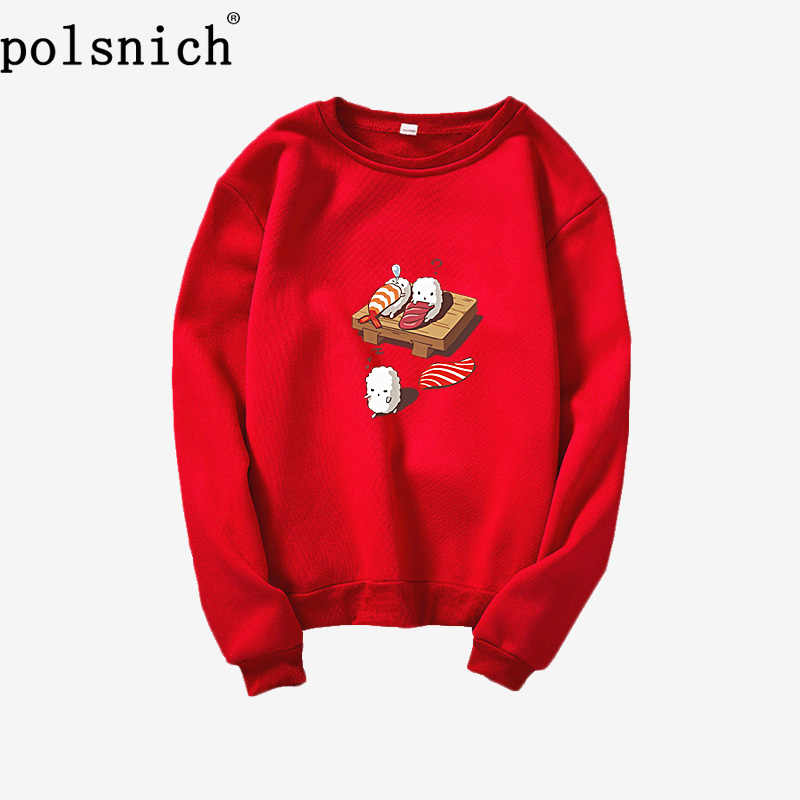 Cartoon Kawaii Sushi Japanese Print Fleece Loose Harajuku Pullover Solid Color Sweatshirt Japanese Sushi Hoodie Hip Hop Street