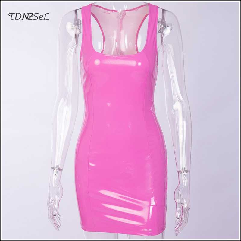 69883e4746f ... Sexy PU Patent Leather Sheath Tank Dress Women Short Mini Low Cut Slim  PVC Latex Nightclub ...