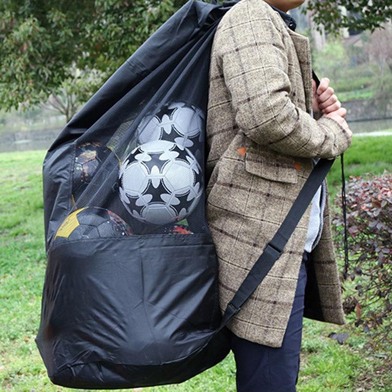 Put 15PCS Balls Adjustable Sliding Drawstring Shoulder Strap Bag For Basketball Volleyball Football Soccer Storage Bag Pocket 30