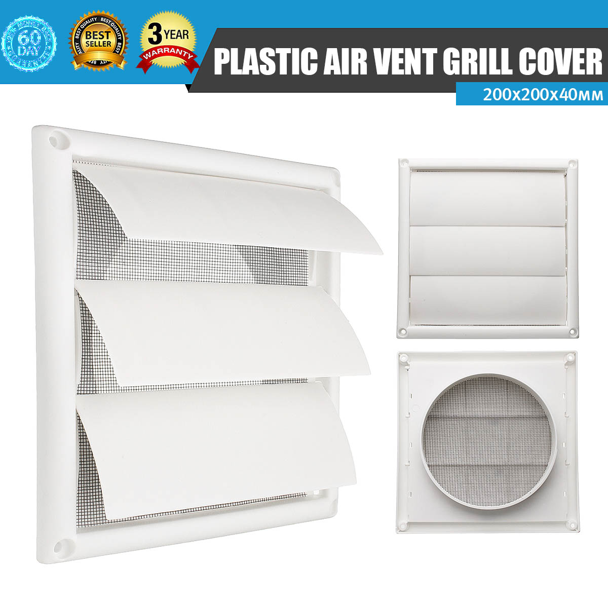 US $6 55 21% OFF|MTGATHER Air Vent Grille Ventilation Cover Plastic White  Wall Grilles Duct 200x200x40mm Heating Cooling & Vents Vents-in Vents from